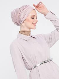 Pink - Point Collar - Cotton - Tunic