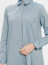 Petrol - Point Collar - Cotton - Tunic