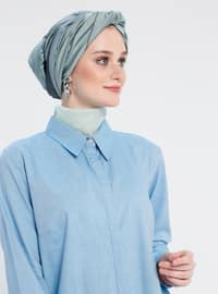 Turquoise - Point Collar - Cotton - Tunic