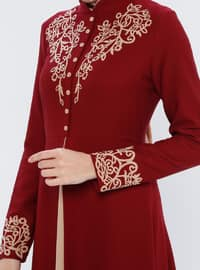 Maroon - Ethnic - Crew neck - Fully Lined - Dress