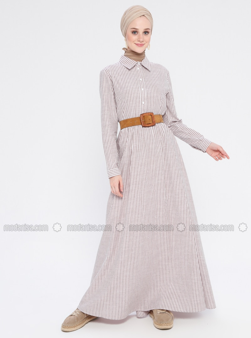 Brown - Stripe - Point Collar - Unlined - Cotton - Dress