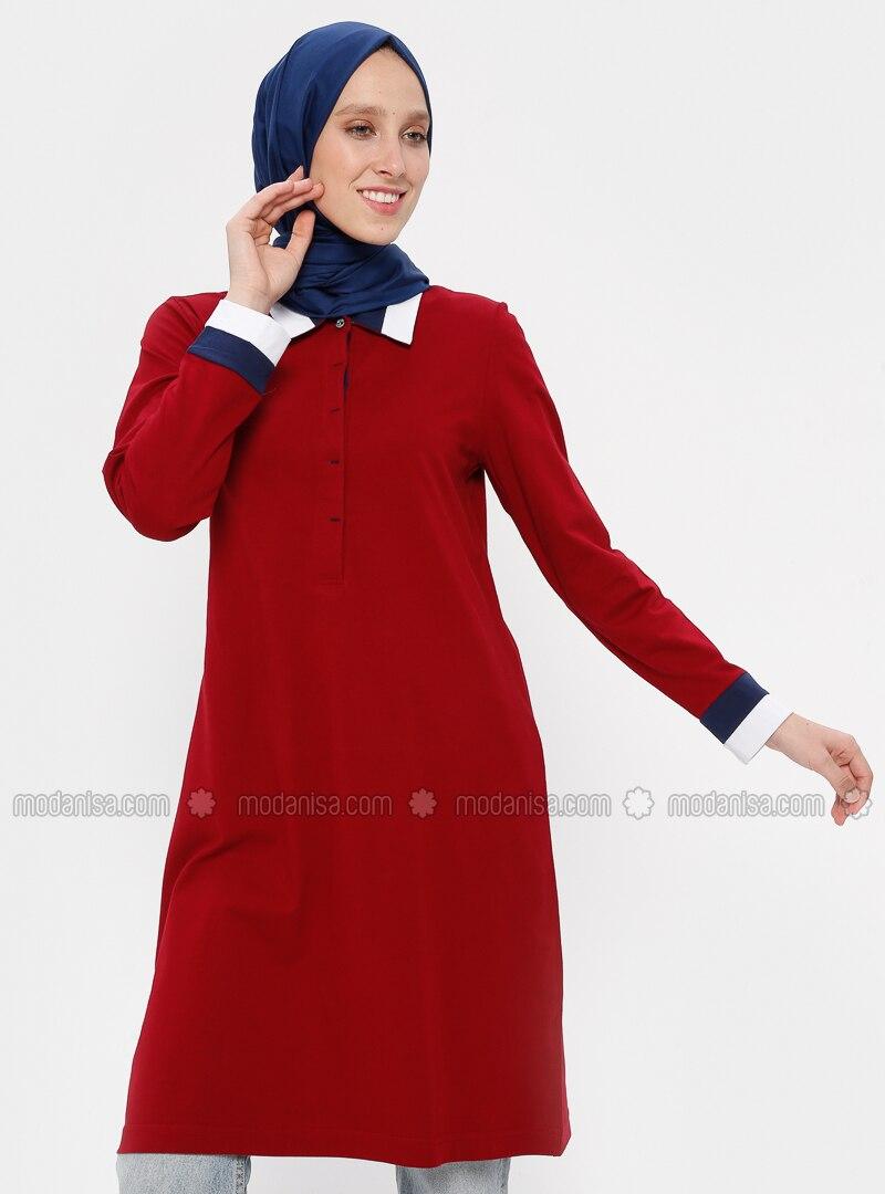 Maroon - Point Collar - Viscose - Tunic
