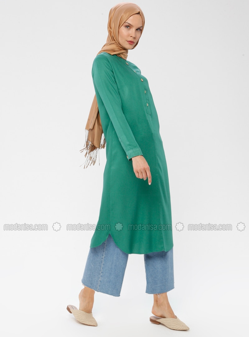Green - Button Collar - Viscose - Tunic
