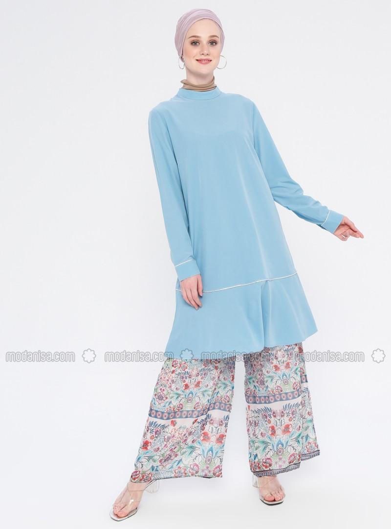 Turquoise - Polo neck - Tunic
