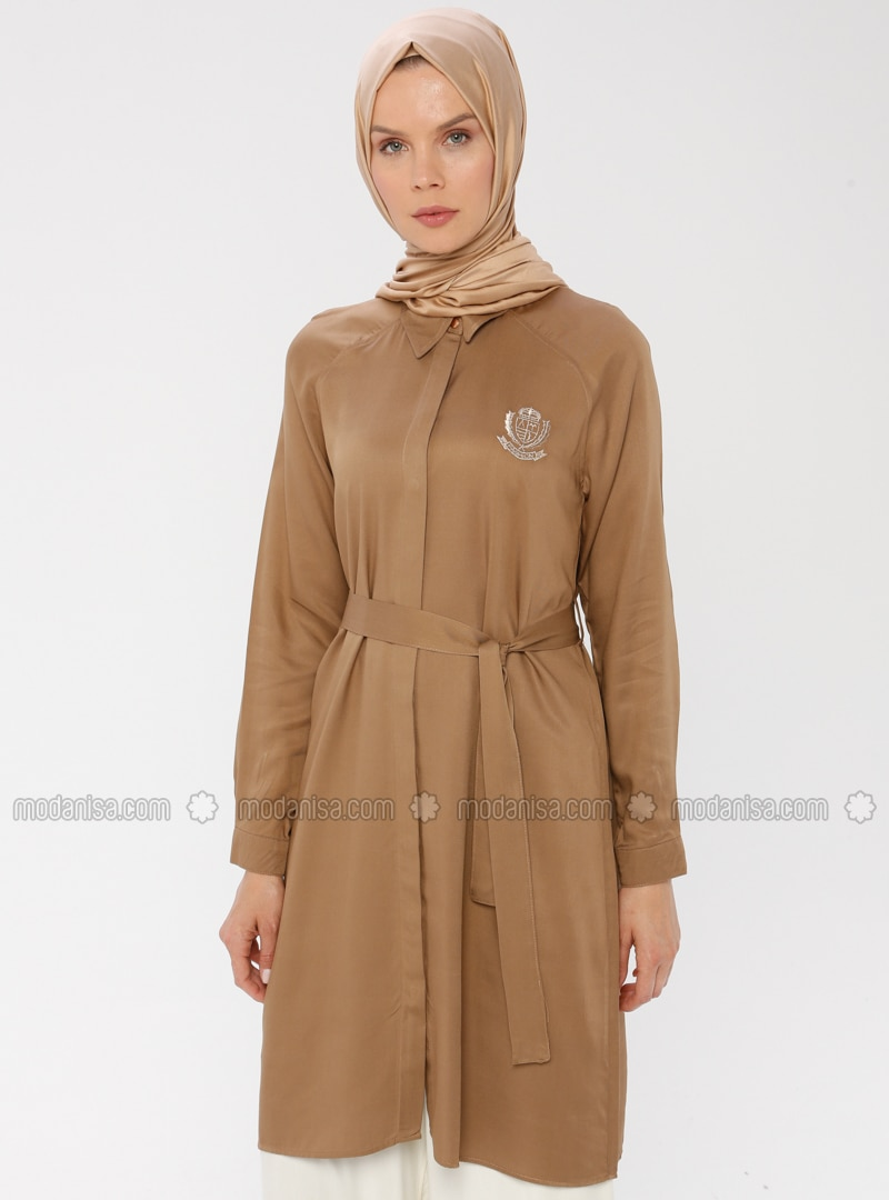Brown - Point Collar - Viscose - Tunic