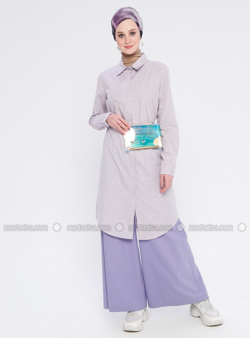 Purple - Point Collar - Cotton - Tunic