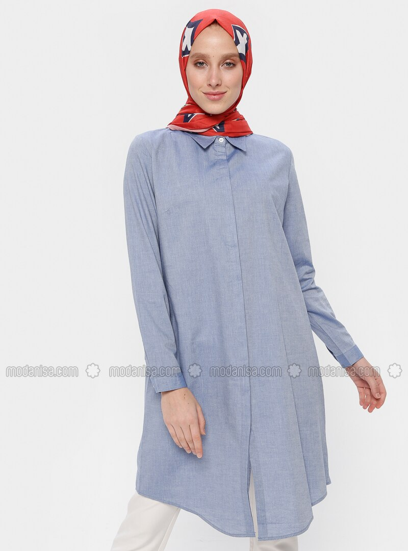 Blue - Saxe - Point Collar - Cotton - Tunic