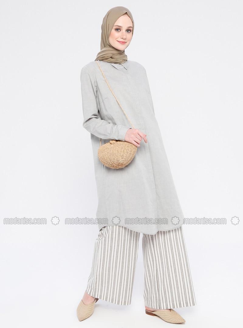Gray - Point Collar - Cotton - Tunic