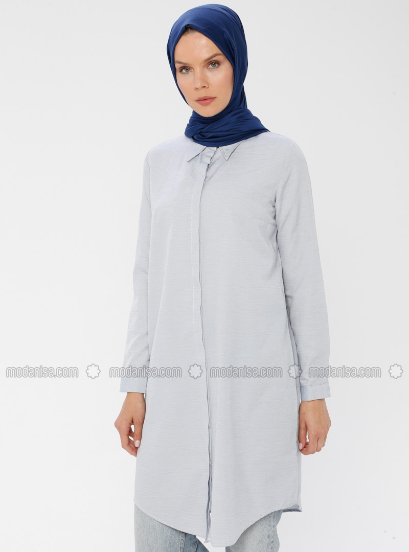 Blue - Indigo - Point Collar - Cotton - Tunic