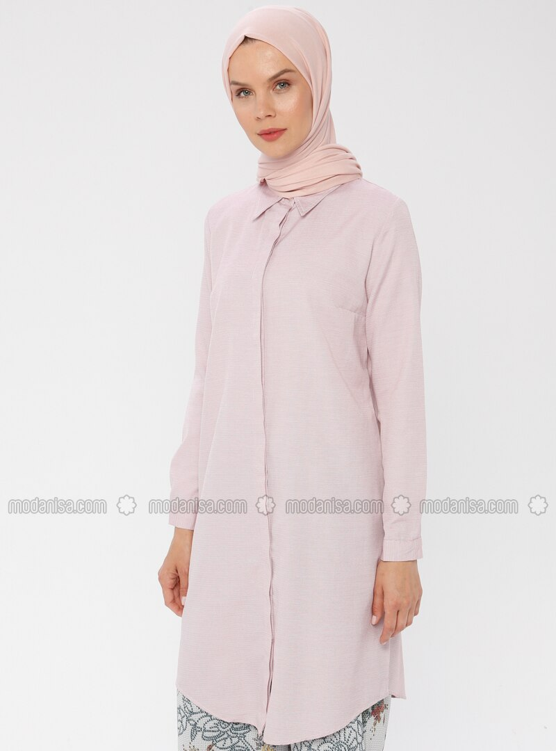 Red - Point Collar - Cotton - Tunic