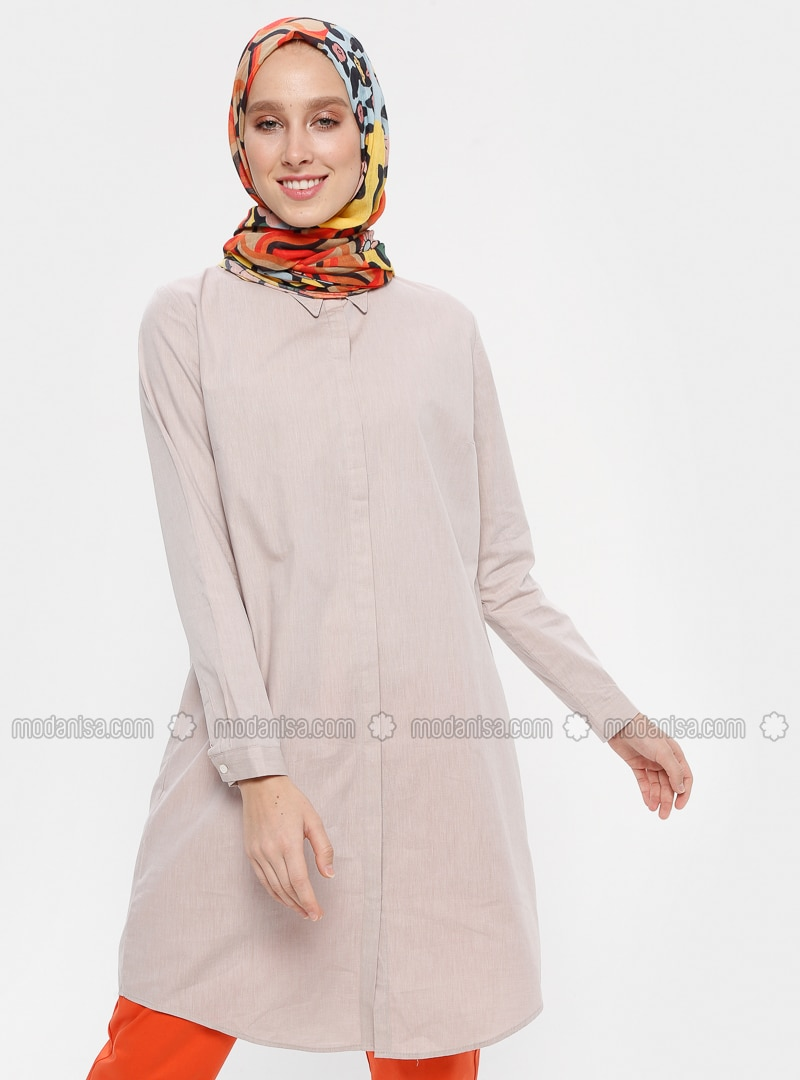 Brown - Point Collar - Cotton - Tunic