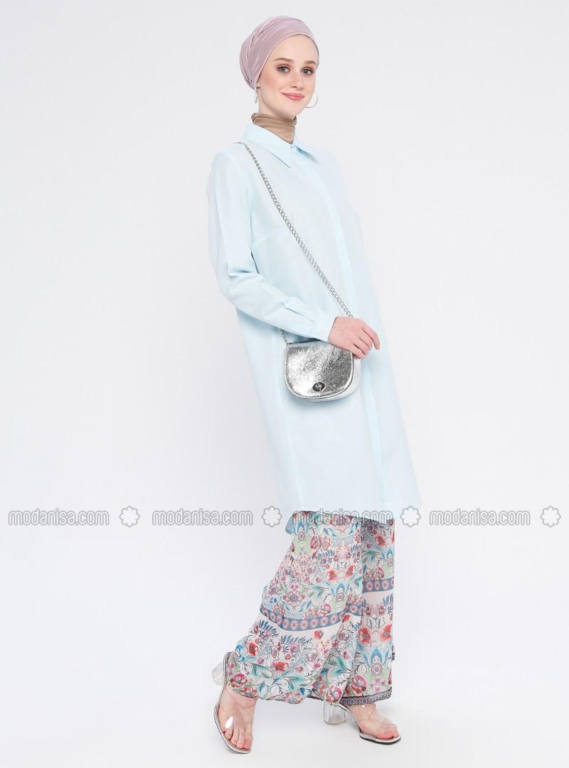 Turquoise - Point Collar - Cotton - Tunic