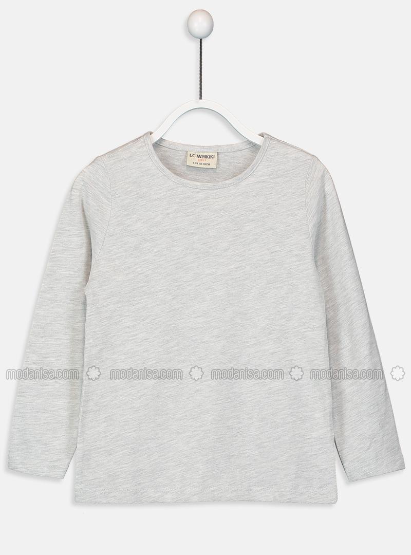 Crew neck - Gray - Girls` T-Shirt