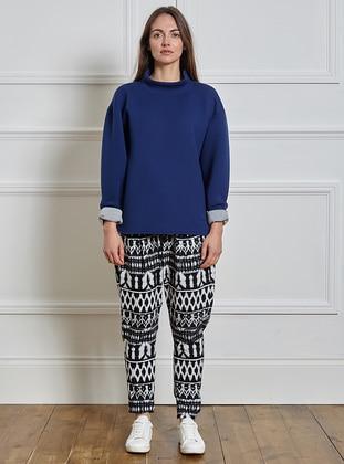 Pants - Black-Whiite
