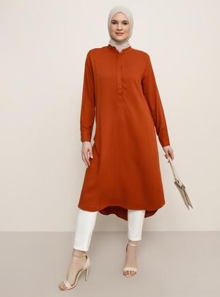 Cinnamon - Crew neck - Cotton - Plus Size Tunic