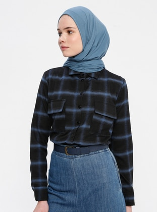 Blue - Black - Plaid - Point Collar - Viscose - Blouses