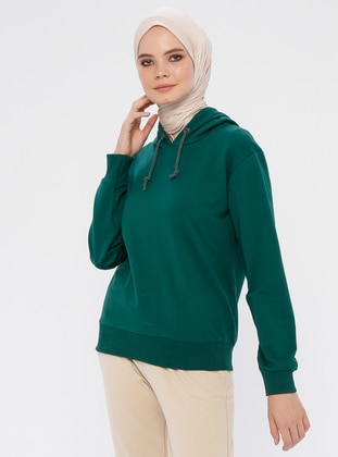 Green - Emerald - Cotton - Tracksuit Top
