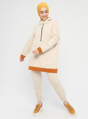 Beige - Cotton - Tracksuit Set