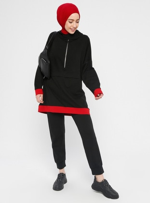 Black - Cotton - Tracksuit Set