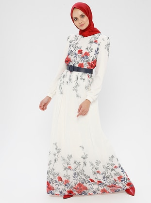 White - Ecru - Floral - Polo neck - Fully Lined - Dress