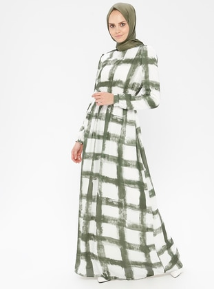 Green - Checkered - Polo neck - Fully Lined - Dress