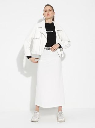 White - Ecru - Unlined - Cotton - Skirt