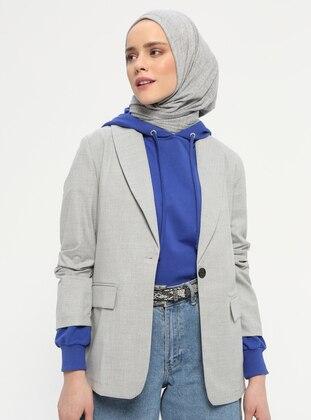 Gray - Unlined - Shawl Collar - Viscose - Jacket