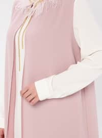 White - Ecru - Powder - Crew neck - Unlined - Plus Size Suit