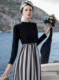Black - Stripe - Crew neck - Fully Lined - Dress