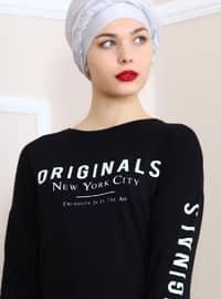 Black - White - Crew neck - Cotton - Acrylic - Tunic