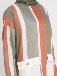 Khaki - Stripe - Crew neck - Tunic