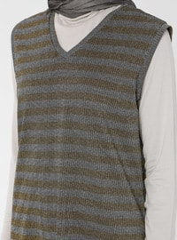 Black - Yellow - Stripe - V neck Collar - Tunic