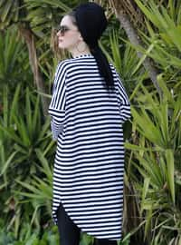Black - Stripe - Crew neck - Viscose - Tunic