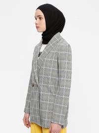 Gray - Green - Plaid - Shawl Collar - Viscose - Jacket