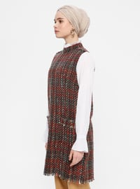 White - Red - Polo neck -  - Tunic
