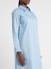 Blue - Turquoise - Point Collar - Cotton - Tunic