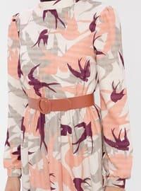 Purple - Salmon - Multi - Polo neck - Fully Lined - Dress
