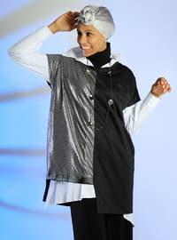Black - Gray - V neck Collar - Cotton - Tunic