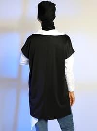 Black - V neck Collar - Cotton - Tunic