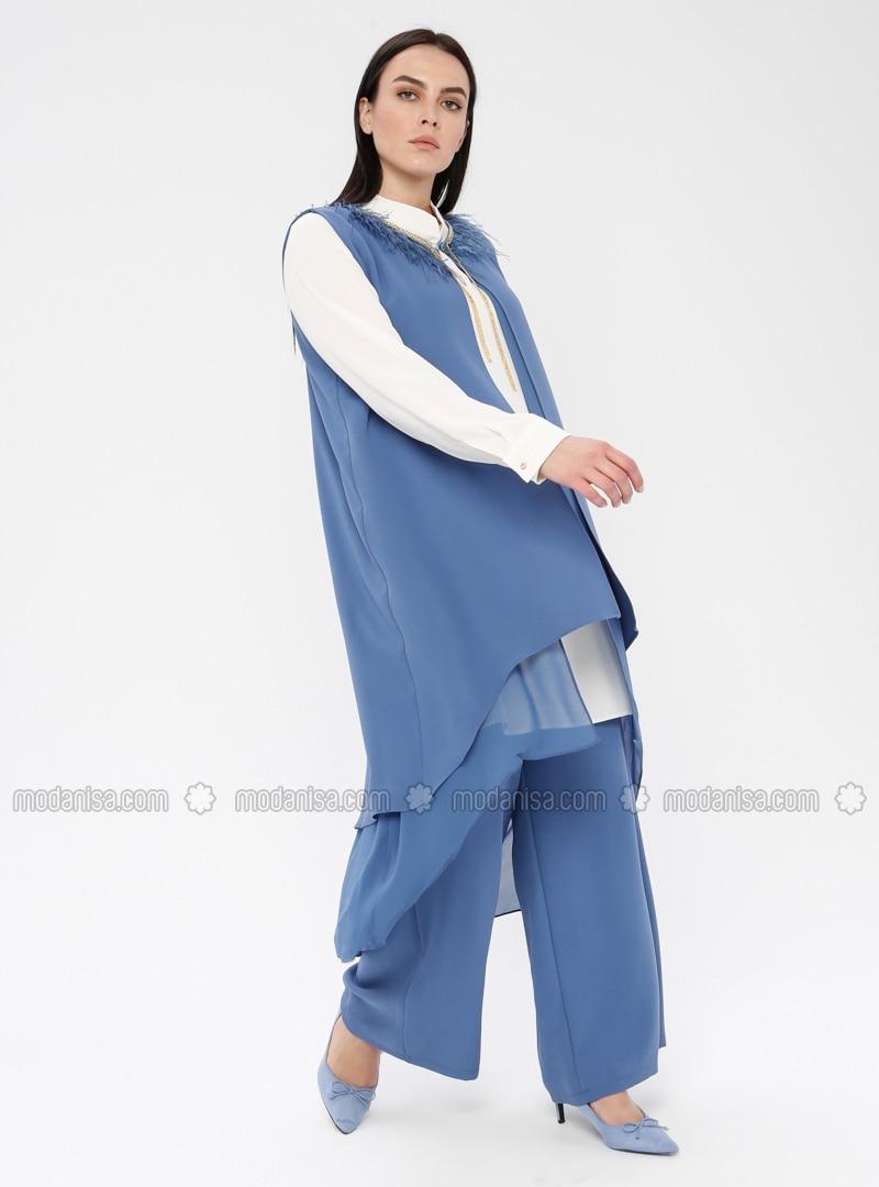 Blue - White - Ecru - Indigo - Crew neck - Unlined - Plus Size Suit