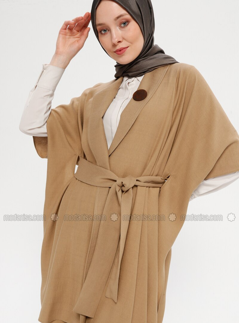 Camel - Unlined - Shawl Collar - Topcoat