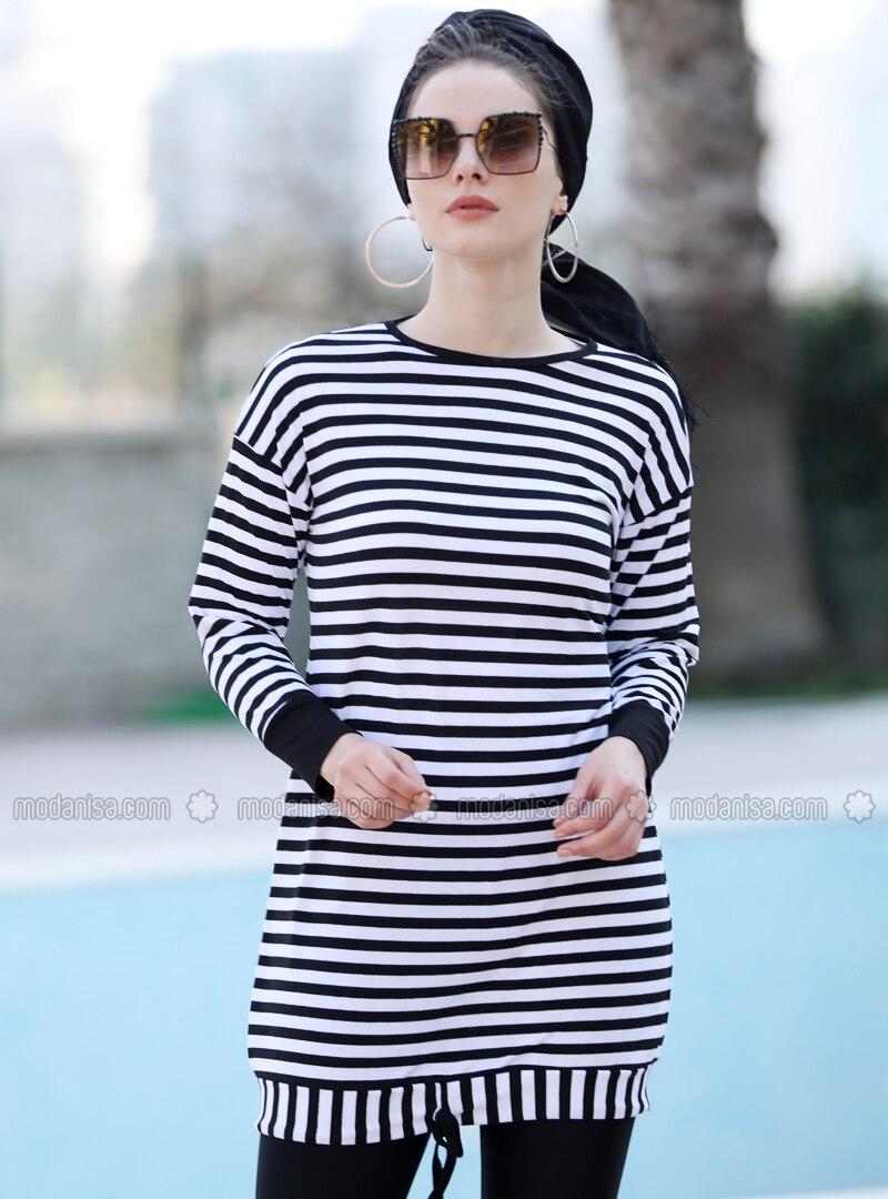 Black - Stripe - Crew neck - Viscose - Tunic