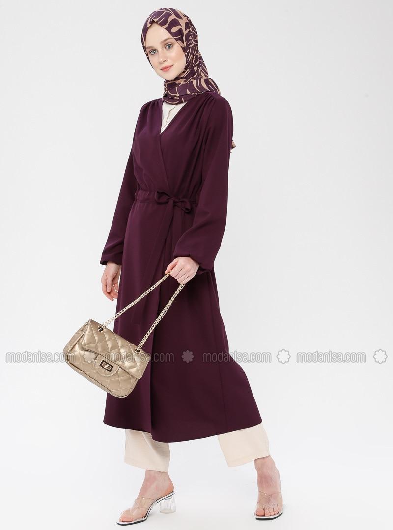Plum - Unlined - Shawl Collar - Cotton - Topcoat