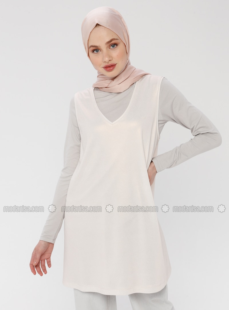 White - Ecru - V neck Collar - Tunic