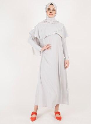 Gray - Crew neck - Unlined - Crepe - Dress