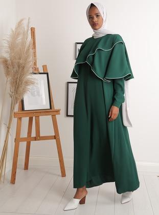 Green - Crew neck - Unlined - Crepe - Dress
