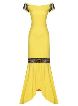 Yellow - Unlined - Boat neck - Muslim Evening Dress