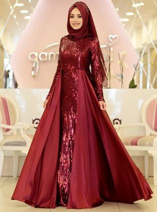 3f15675c0b48e Maroon - Fully Lined - Crew neck - Muslim Evening Dress. Gamze Özkul