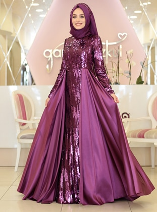 Fuchsia - Fully Lined - Crew neck - Muslim Evening Dress