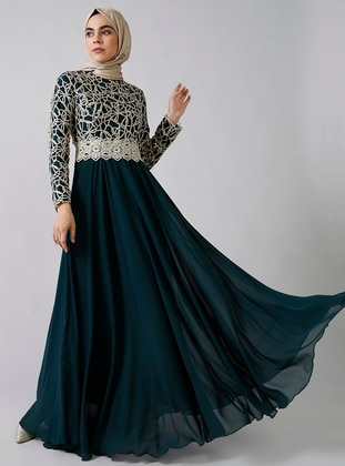 Green - Emerald - Fully Lined - Crew neck -  - Muslim Evening Dress - Refka